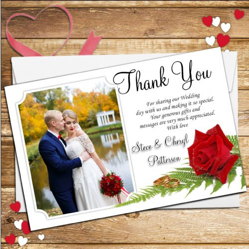 10 Personalised Wedding Day Thank you Photo cards N78